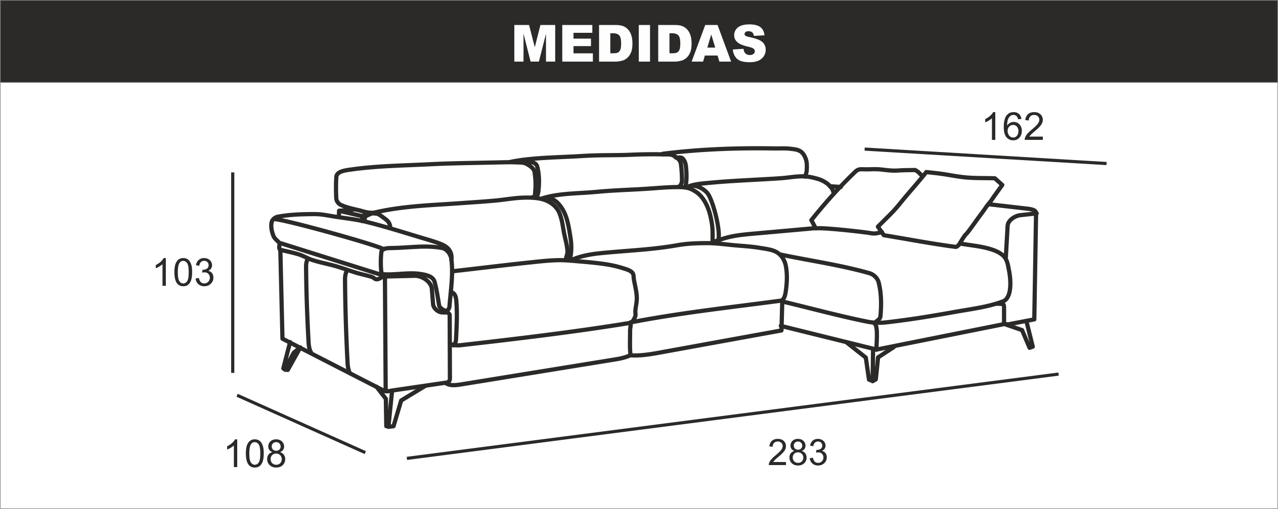 Medidas Chaiselongue Descansa Mediana