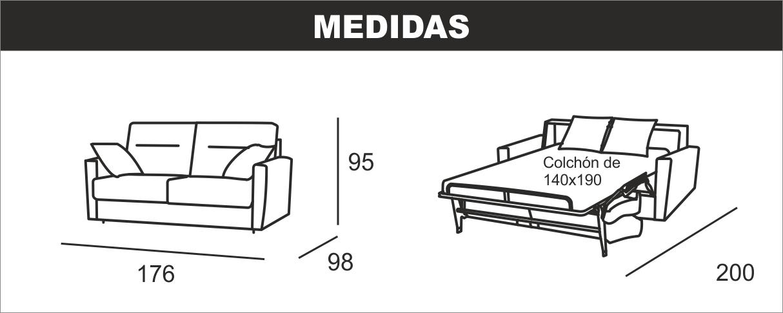 Medidas sofá cama italiana Megan E