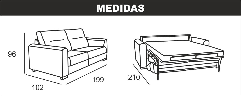 Medidas sofá cama italiana NALA