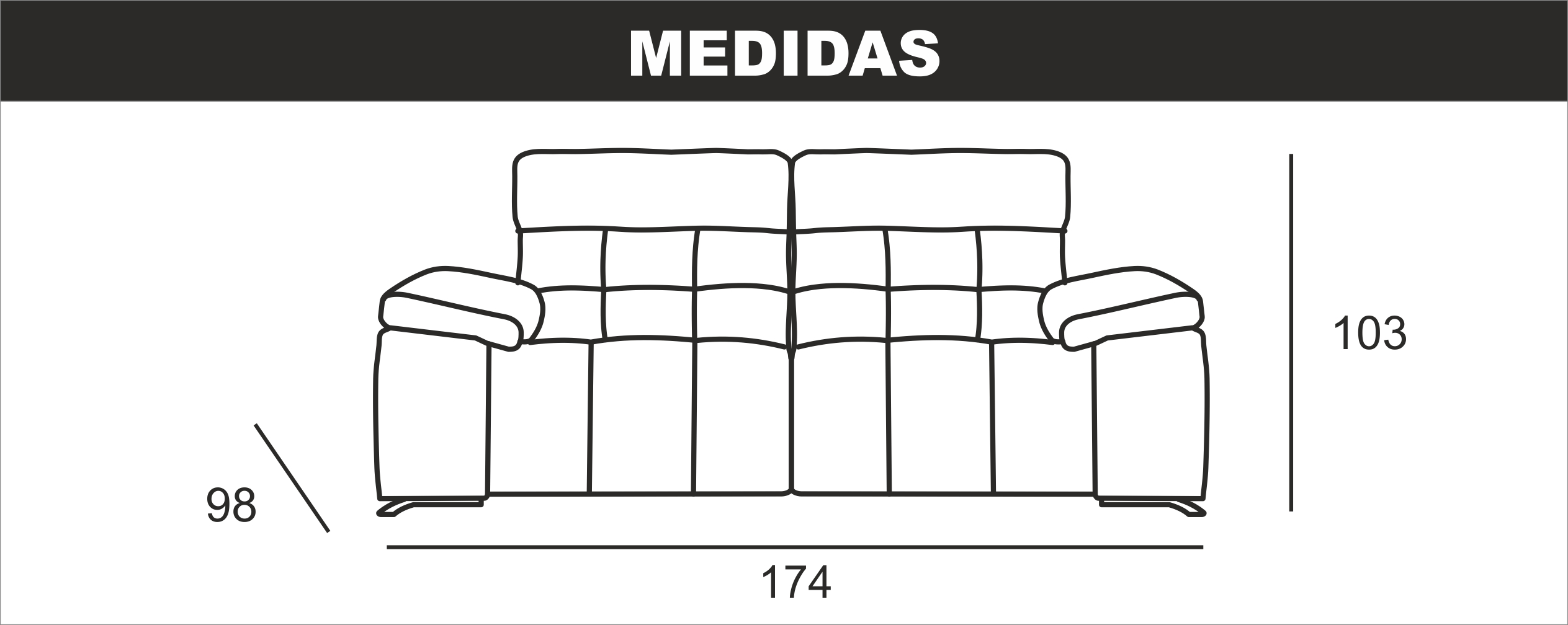 Medidas Sofa 2 Plazas Queen