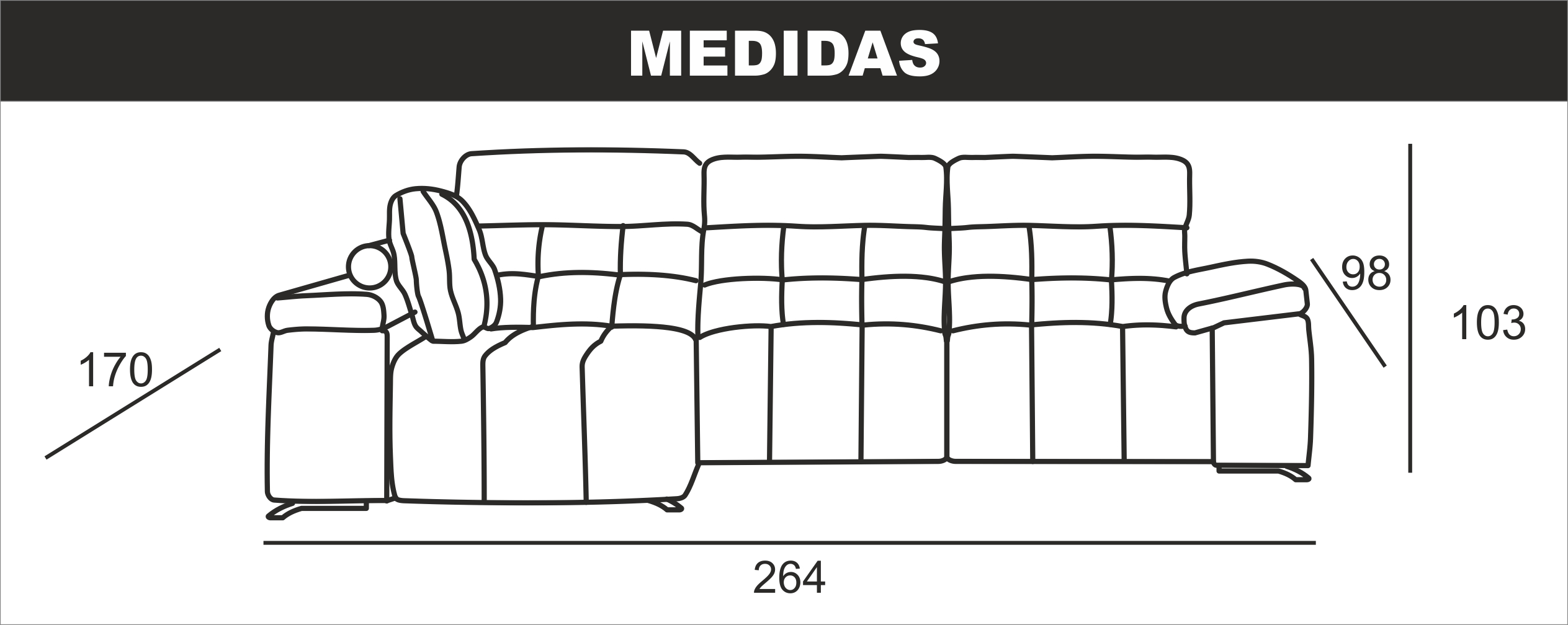 Medidas Chaiselongue Pequeña Queen